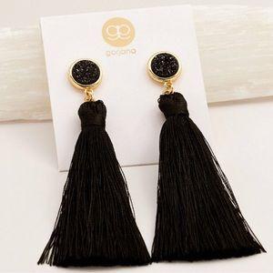 Gorjana Druzy Tassel Earrings Black